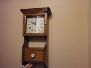 Hand Crafted Wooden Wall Clock with Drawer.. Made in Canada**