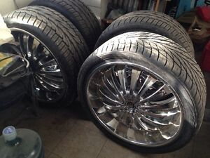 "24"" Crome Rims with tires"