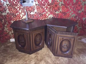 2 BROWN END TABLES FOR SALE