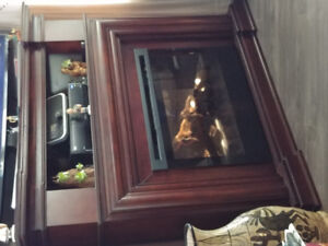 Corner Electric Fireplace and Mantle