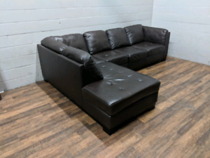 (Free Delivery) - Brown leather 'Oakdale' sectional sofa