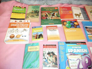 Collection of learn Spanish books - Woodstock area