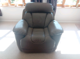 Dfs Supreme leather electric recliner chair, mushroom, vgc.
