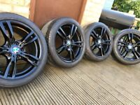 "Genuine BMW 3 Series 18"" 400 M Sport Alloy Wheels & Tyres F30 F31 F32 F33 E46 E90 E92 Z4 Black"