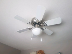 Smaller 34 inch ceiling fan and light. White. Modern.