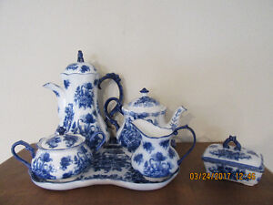 Blue & White Ware Tea/Coffee Set with Serving Tray