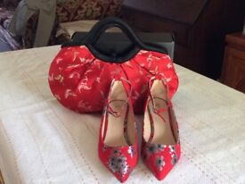 Red 'Chinese' design shoes (size 6) and handbag