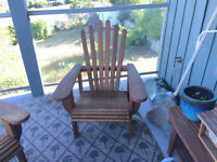 4 cedar deck chairs and matching table