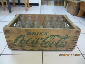 Vintage Wooden Coca Cola Bottle Carrier with 24 bottles Cir1950s