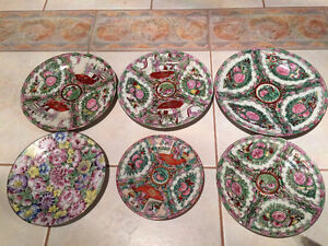 6 Ancient Chinese Hand Painted Plates in Mint Condition