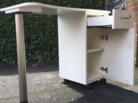 Desk for sale. Mobile desk with drawer and shelves.