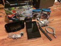 Nintendo black Mario kart Wii U bundle boxed, 3 games