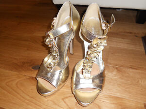 Gold party prom shoes strappy heels 8-9