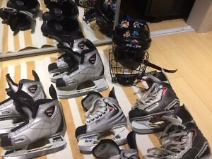Helmets and skates  junior S and M Bauer