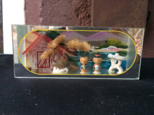 Vintage Japanese Dolls & Scenery -3D  Diorama/Paperweight 1950's