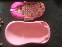 Pink large baby bath & bath support seat