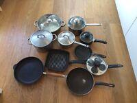 Full set of saucepans, frying pans, griddle pan, egg poacher