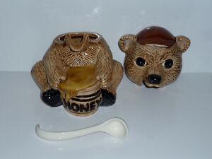 """Honey"" Bear Pot . Porcelain . Tongue is Spoon Cambridge Kitchener Area image 2"