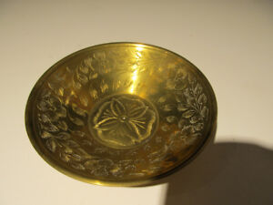 Antique etched brass coin dish.