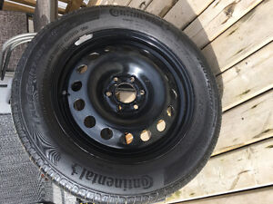 Set of four tires on rims