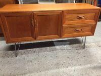 Vintage retro wooden mid century teak G Plan Danish style sideboard TV record cabinet credenza