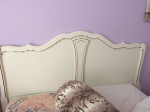 Queen headboard and night table