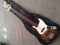 Fender Jazz Bass (fretless) Mexican sunburst, four string, Right handed
