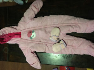 6-12 month girl snowsuit and thinsulate gloves