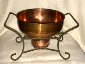 Vintage Copper Chafing Dish with burner and Wrought Iron Stand
