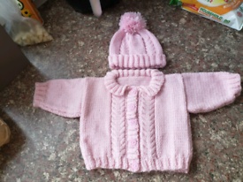 0-3 months pink hat and cardigan set. New