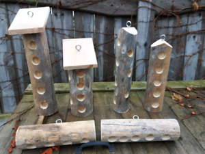 Bird feeders - cedar log