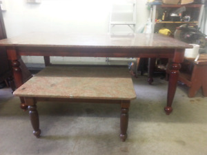 Granite top coffee table, table and buffet *no chairs