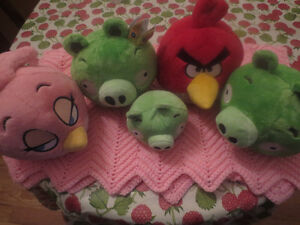Lot 5 Of Angry Birds Plush Toys 1 Squeeze Talk Plush