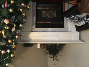 Fireplace mantel with marble insert