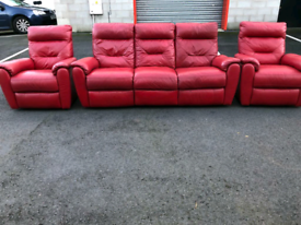 Recliner Red Leather 3 Seater Sofa and 2 Chairs (very good condition)