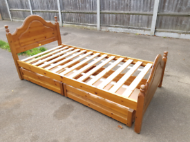 Pine single bed frame with 2 pine separate drawers, delivery available
