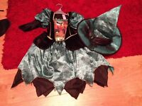 Girls Halloween sparkle witch costume age 5-6