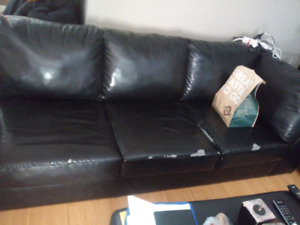 Half leather sectional