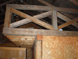 "Old barn beams 6"" x 6"" for railing..."