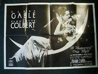 RARE 1984 VIDEO POSTER CLARK GABLE IT HAPPENED ONE NIGHT EX COND