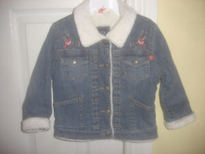Baby Gap Girl denim Jean Embroidered Jacket Faux Sherpa Lined 4T