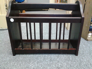 Wooden magazine rack at Second Stage