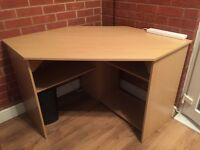 Corner desk beech effect