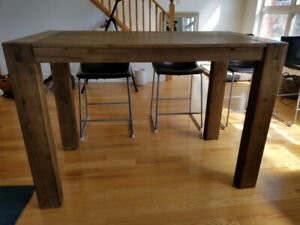 Wood Harvest Table and 4  Leather Chairs - package or separately