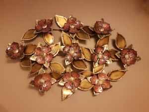 ORIGINAL SIGNED 1975 MCM METAL WALL ART FLORAL WALL SCULPTER