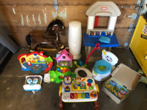 Baby toddler kids items toys and learning table, play horse more