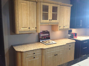 Beautiful Thermofoil Maple Kitchen Section w/ Quartz Countertop Moose Jaw Regina Area image 2