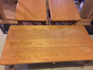 Mennonite solid oak coffee table and end tables