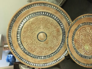 Wood Decorative plate and pedestal bowl ...stand included