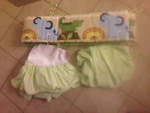 Jungle theme Bumper pad with matching crib skirt